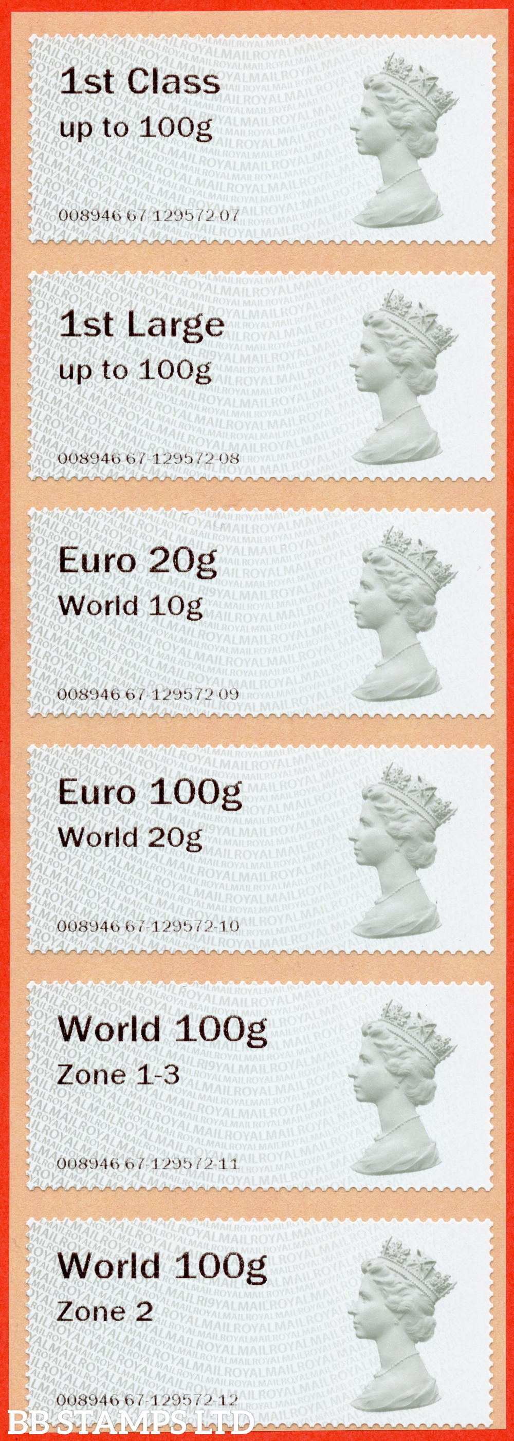 Machin (TIIA), set of 6 with 01/09/20 new overseas stamps: 1st/1stL/Euro 20g World 10g, and 3 new values: Euro 100g World 20g, World 100g Zone 1-3 and World Zone 2: with R19Y year code (BK31 P1)