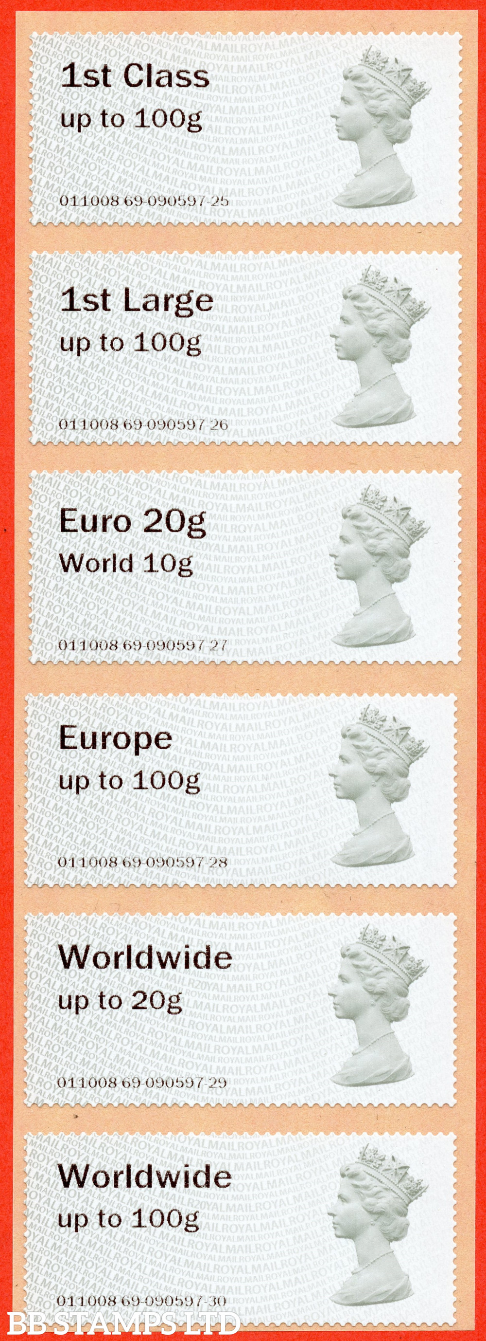 1st - Worldwide 100g Type IIA (set of 6): R20Y (elusive, very short life on these values before zoned stamps were introduced) (BK31 P4)