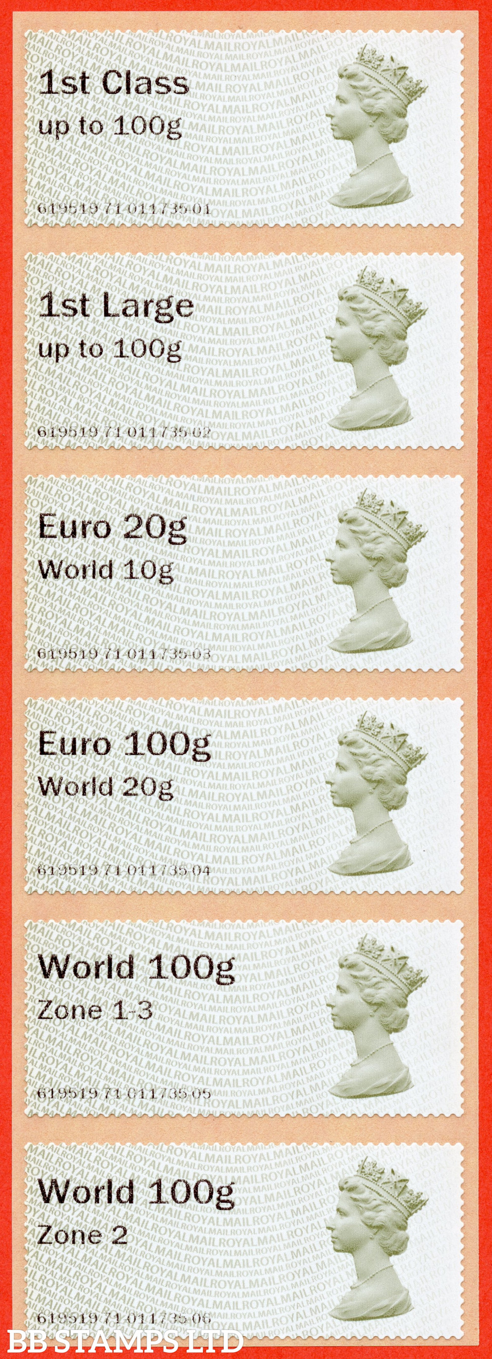 Machin (TIIA), set of 6 with 01/09/20 new overseas stamps: 1st/1stL/Euro 20g World 10g, and 3 new values: Euro 100g World 20g, World 100g Zone 1-3 and World Zone 2: no year code (BK31 P6)