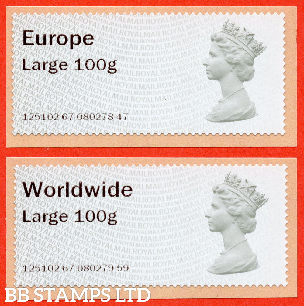 Machin (TIIA), Europe Large 100g, & Worldwide Large 100g, first introduced on 01/01/21: with R19Y year code (2 stamps) (BK31 P12)