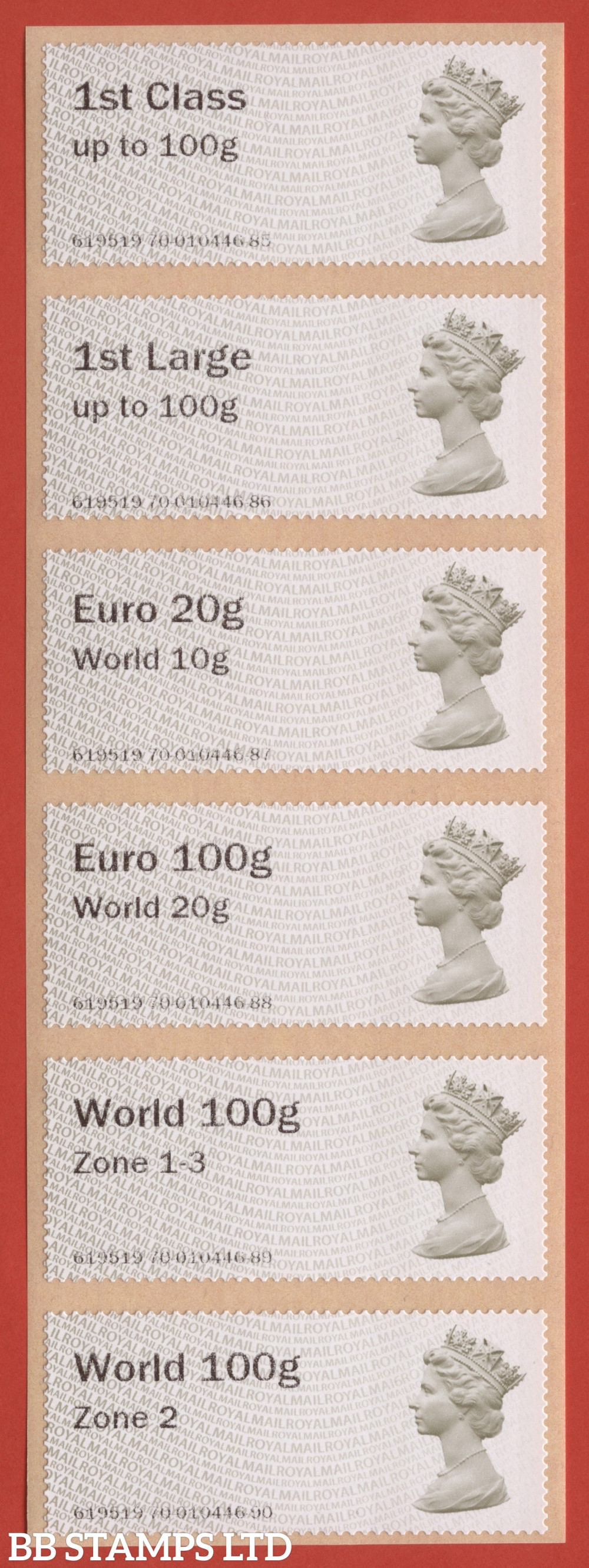 Machin (TIIA) set of 6 with new overseas tariff stamps as issued on 01 September 2020: 1st, 1stL, Euro 20g World 10g – and new tariff Euro 100g World 20g/World 100g Zone 1-3/World Zone 2 stamps: MA16 (BK29 P18)