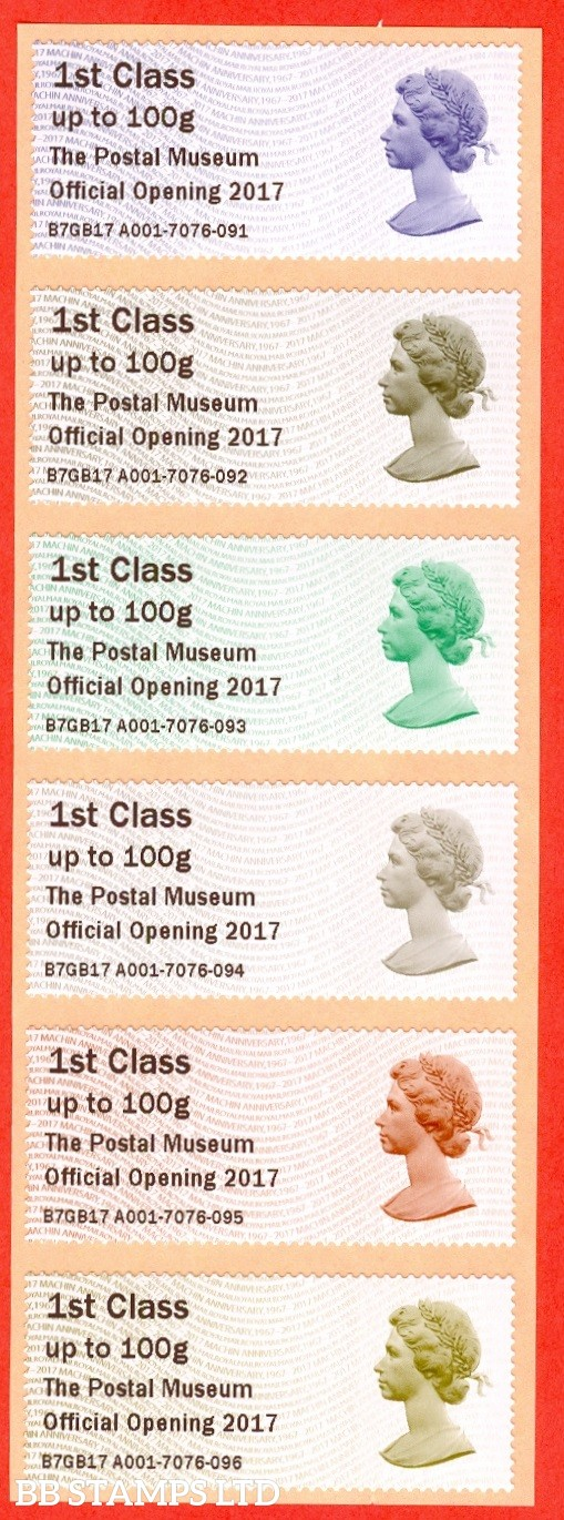 The Postal Museum Official Opening 2017: Multi Coloured Machin Head 6 x 1st Class: Type IIIA (set of 6)