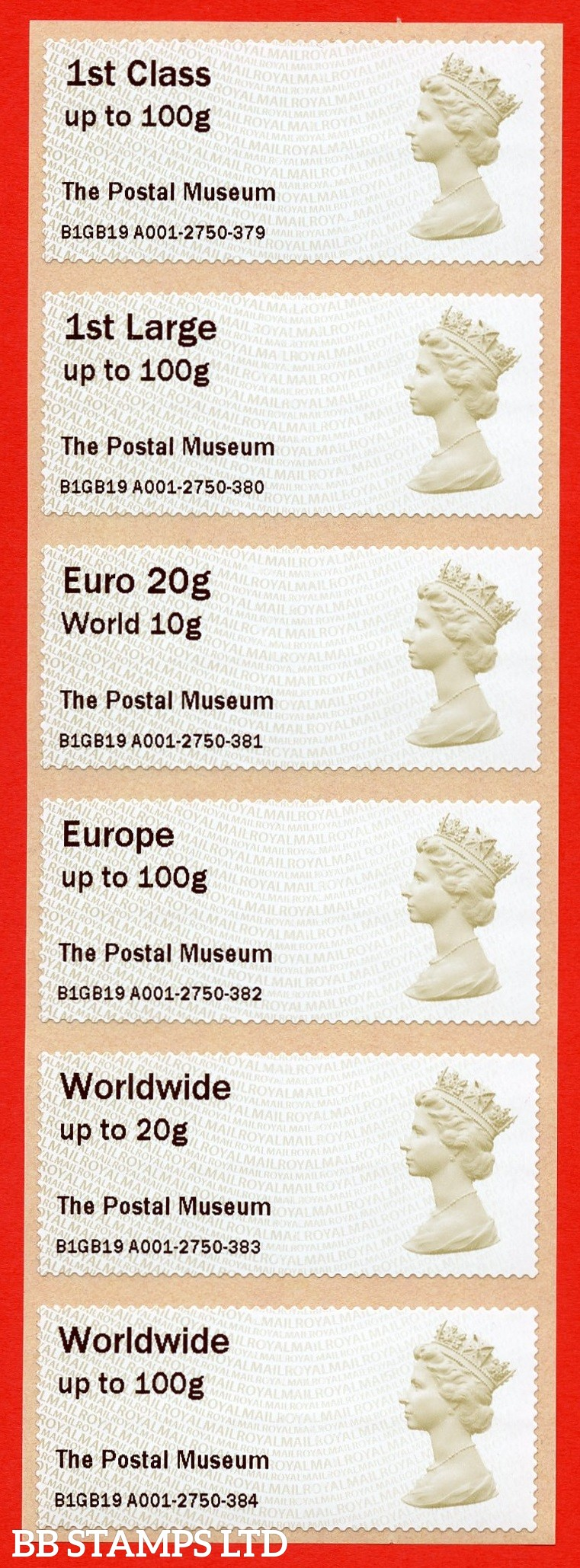 Machin The Postal Museum (set of 6) 1st - Worldwide 100g: MA15 Type IIIA (Issued 2019) (BK28,P11)