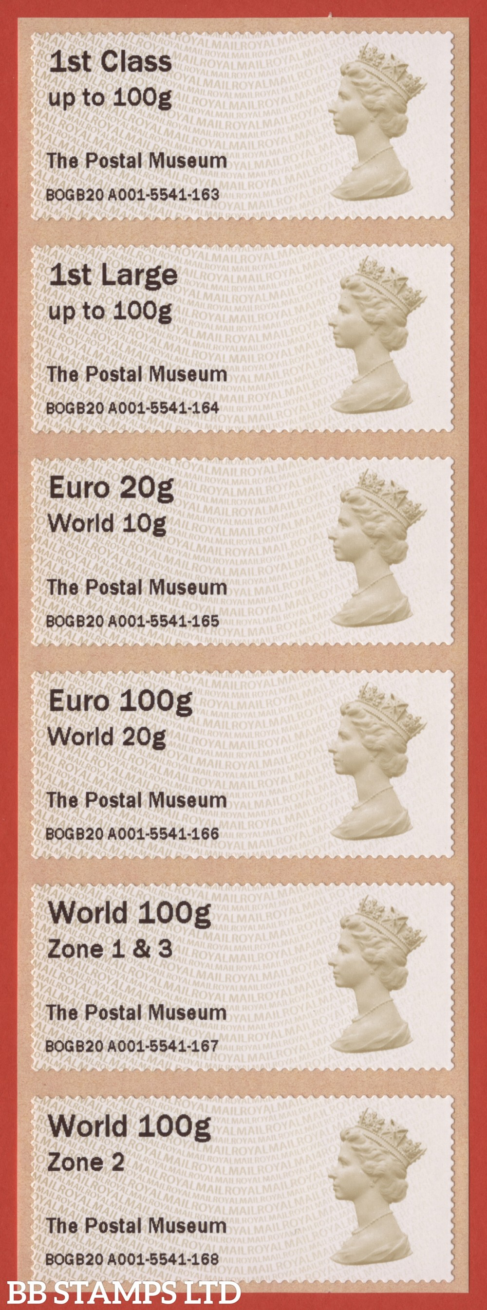 Machin: The Postal Museum, set of 6 (TIIIA) with new overseas stamps: 1st/1stL/Euro 20g World 10g, and 3 new values: Euro 100g World 20g, World 100g Zone 1 & 3 [with &; doesn't exist with hyphen] and World Zone 2: with MA14 year code (BK30, P4)