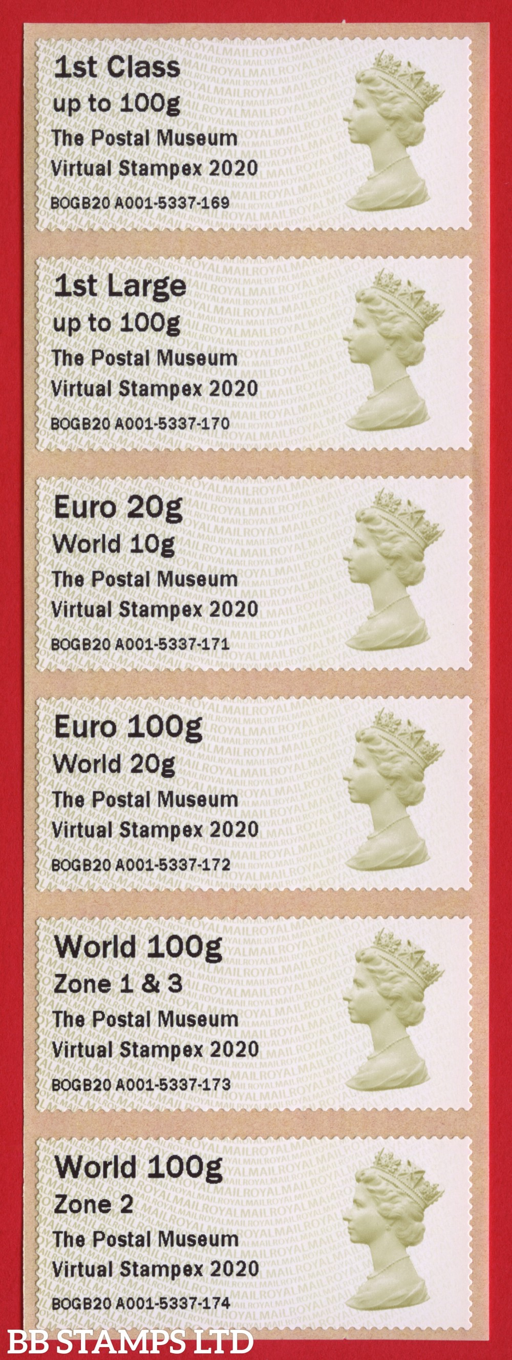 Machin The Postal Museum Virtual Stampex 2020 1st - World Zone 2 (set of 6) Type IIIA: MA14. Only available for three days, between 1st and 3rd October 2020. (BK30, P3)