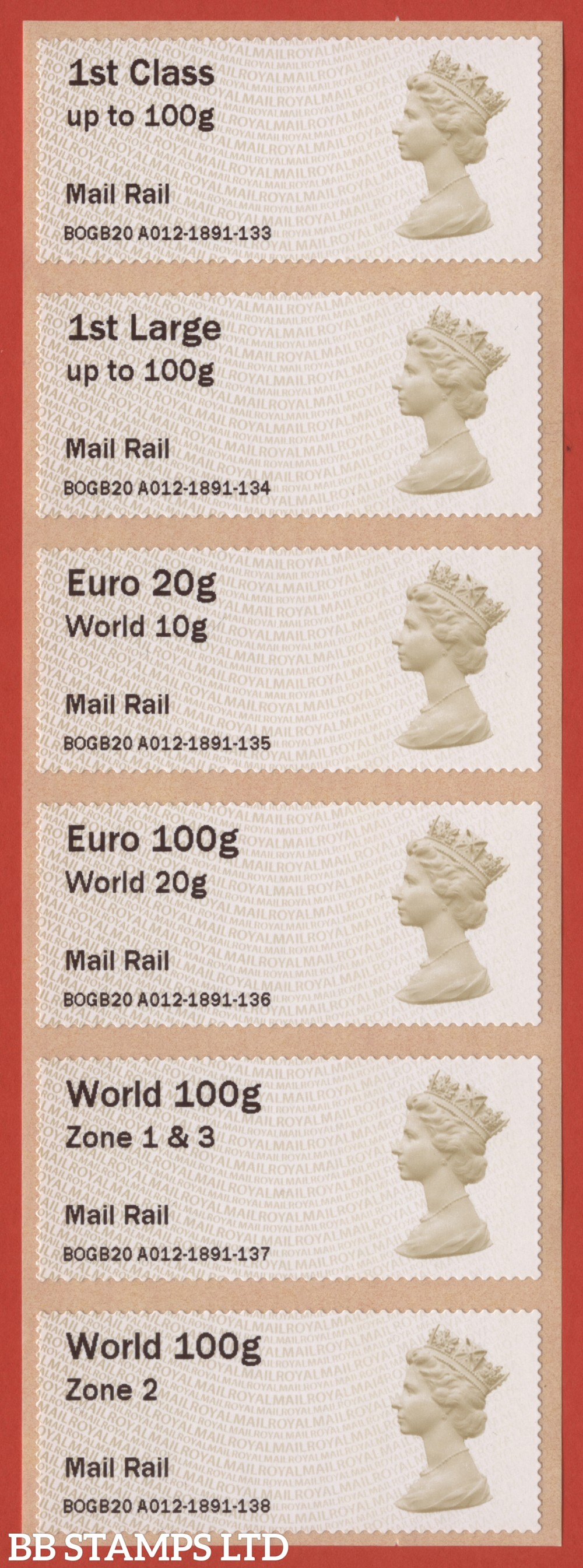 Machin: Mail Rail, set of 6 (TIIIA) with new overseas stamps: 1st/1stL/Euro 20g World 10g, and 3 new values: Euro 100g World 20g, World 100g Zone 1 & 3 [with &; doesn't exist with hyphen] and World Zone 2: with MA14 year code (BK30, P5)
