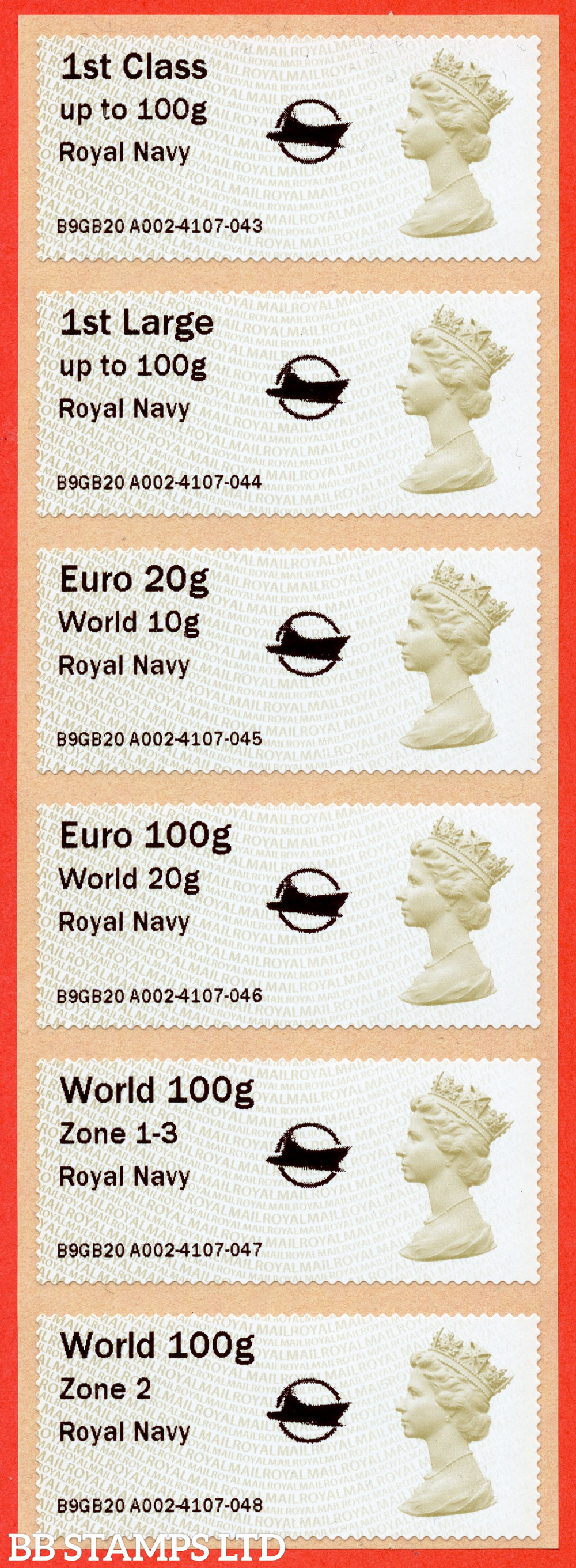 Machin: Royal Navy + small Circle Logo, set of 6 (TIIIA) with 01/09/20 new overseas stamps: 1st/1stL/Euro 20g World 10g, and 3 new values: Euro 100g World 20g, World 100g Zone 1-3 [with hyphen] and World Zone 2: with MA15 year code (BK30 P15)