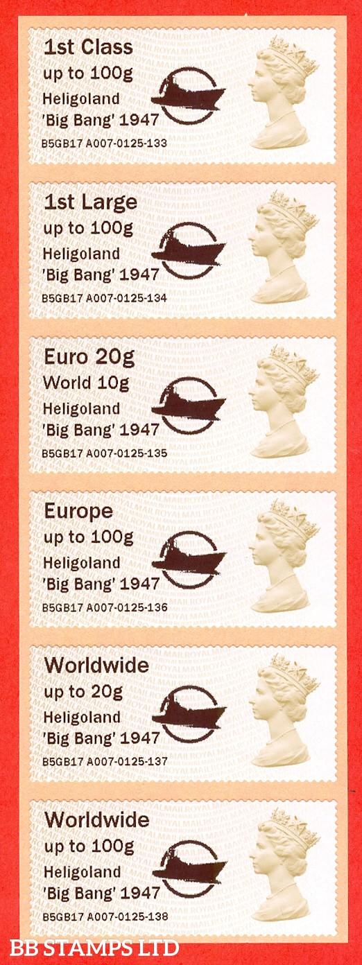 Heligoland 'Big Bang' 1947: MA15 Type IIIA 1st - W/Wide 100g (set of 6)