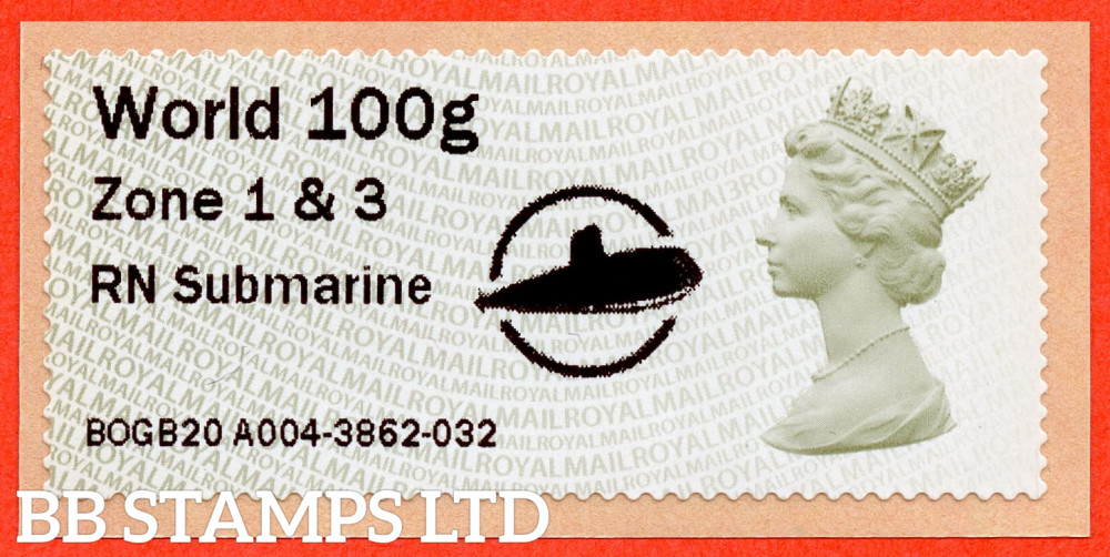 Machin: RN Submarine + large Circle Logo, from 18/09/20: World 100g Zone 1 & 3 [with '&' instead of hyphen] (TIIIA), single only: MA13 year code (BK30 P17)