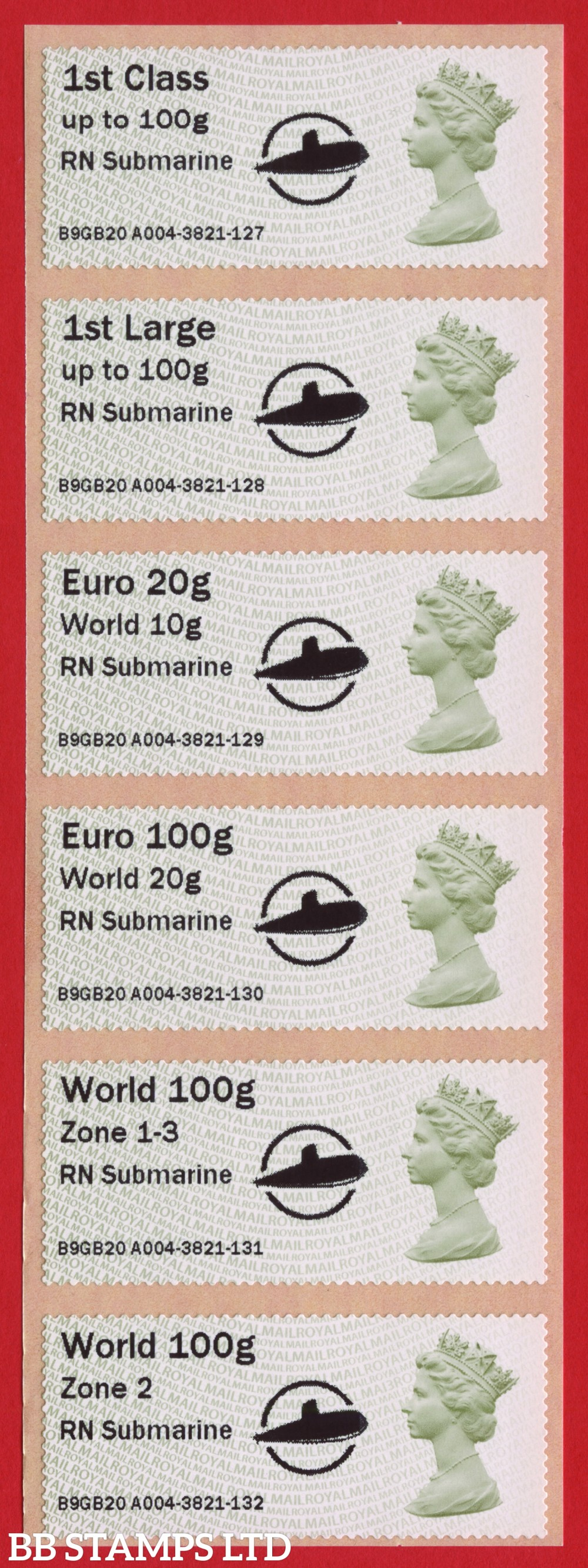 Machin RN Submarine + large Circle Logo, with new overseas tariff stamps as issued on 01 September 2020. Set of 6, TIIIA: 1st, 1stL, Euro 20g World 10g – and new tariff Euro 100g World 20g/World 100g Zone 1-3/World Zone 2 stamps: MA13 (BK29 P19)
