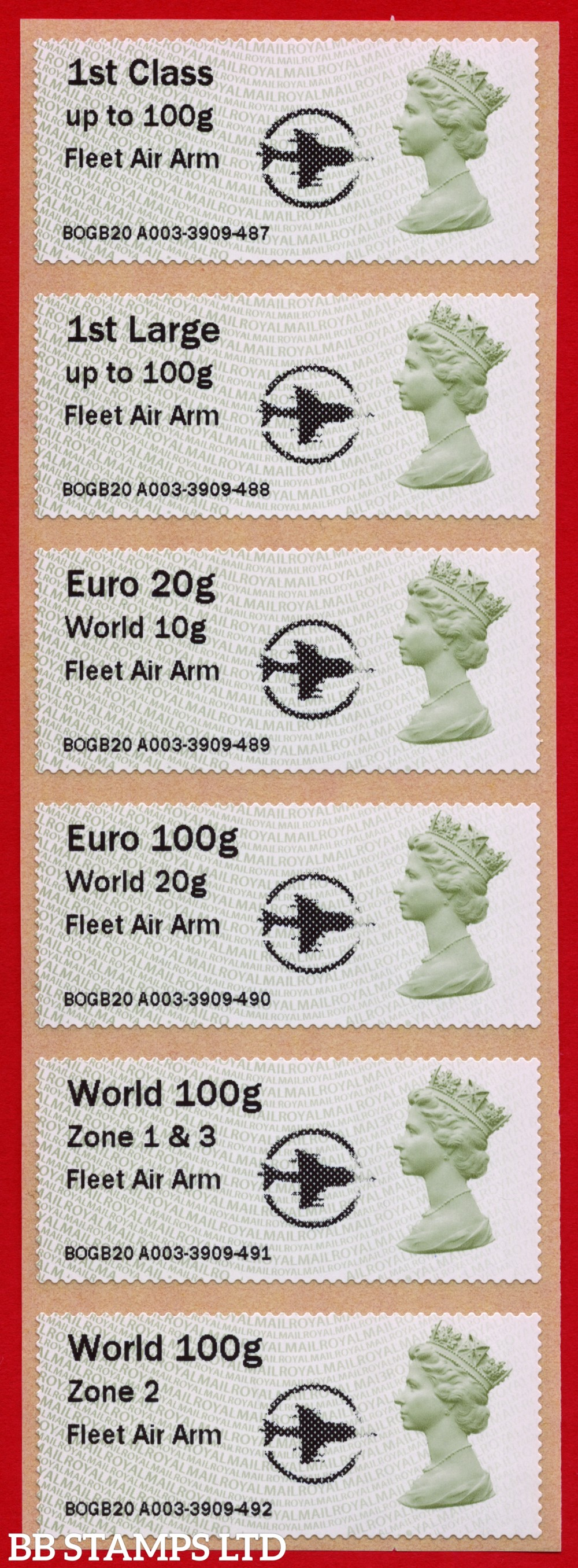 Machin: Fleet Air Arm +small Circle Logo, set of 6 (TIIIA) with new o/seas stamps, revised 18/09/20: 1st/1stL/Euro 20g World 10g, and 3 new values: Euro 100g World 20g, World 100g Zone 1 & 3 [&, not a hyphen], and World Zone 2: MA13 year code (BK30 P13)