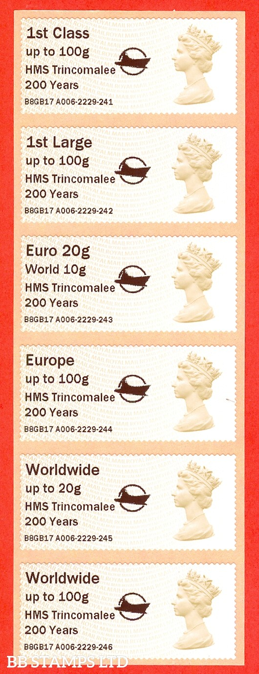 HMS Trincomalee 200 Years + Small Logo MA14 Type IIIA: 1st - W/Wide 100g (set of 6)