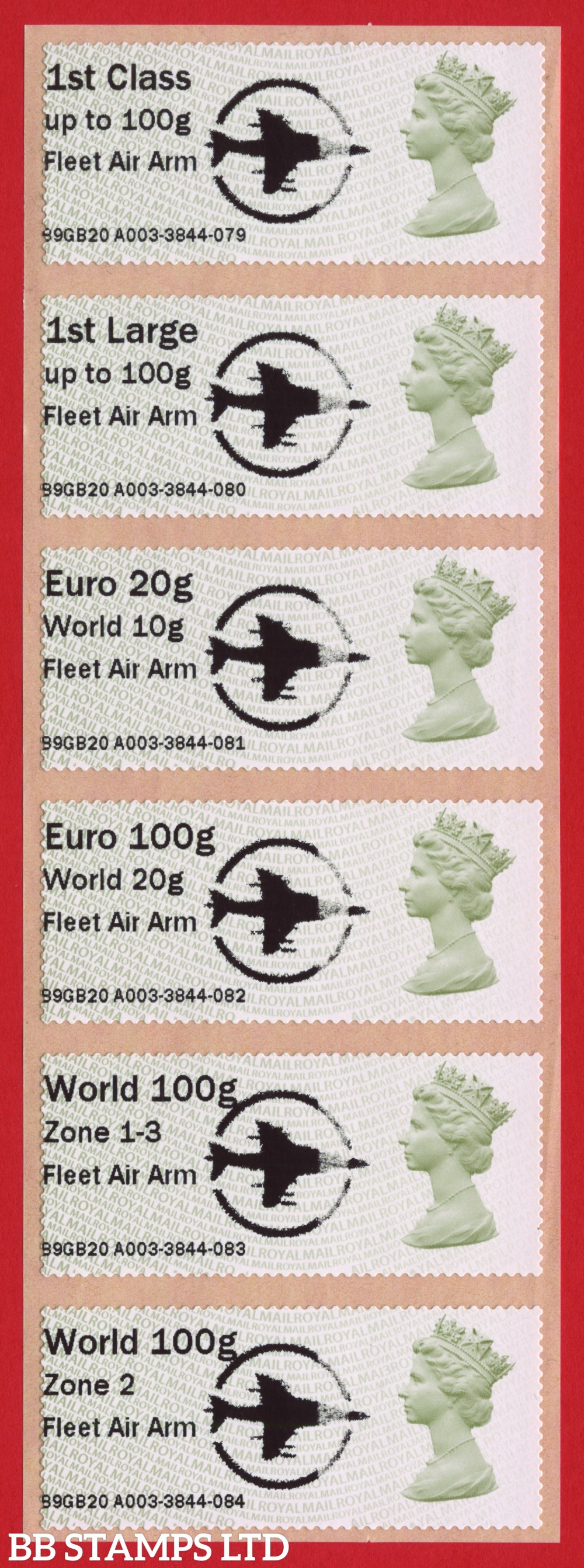Machin Fleet Air Arm + large Circle Logo, with new overseas tariff stamps as issued on 01 September 2020. Set of 6, TIIIA: 1st, 1stL, Euro 20g World 10g – and new tariff Euro 100g World 20g/World 100g Zone 1-3/World Zone 2 stamps: MA13 (BK29 P20)