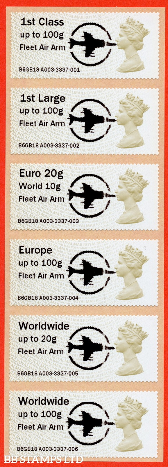 Machin Fleet Air Arm + Large Circle Logo 1st - W/Wide 100g (set of 6) MA14: Type IIIA (BK28,P14)