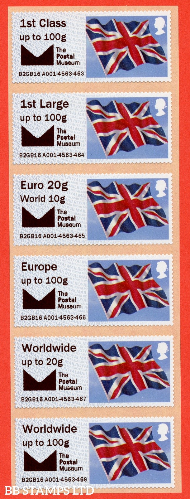 Env logo + The Postal Museum, 1st to WW100g: NO DATE