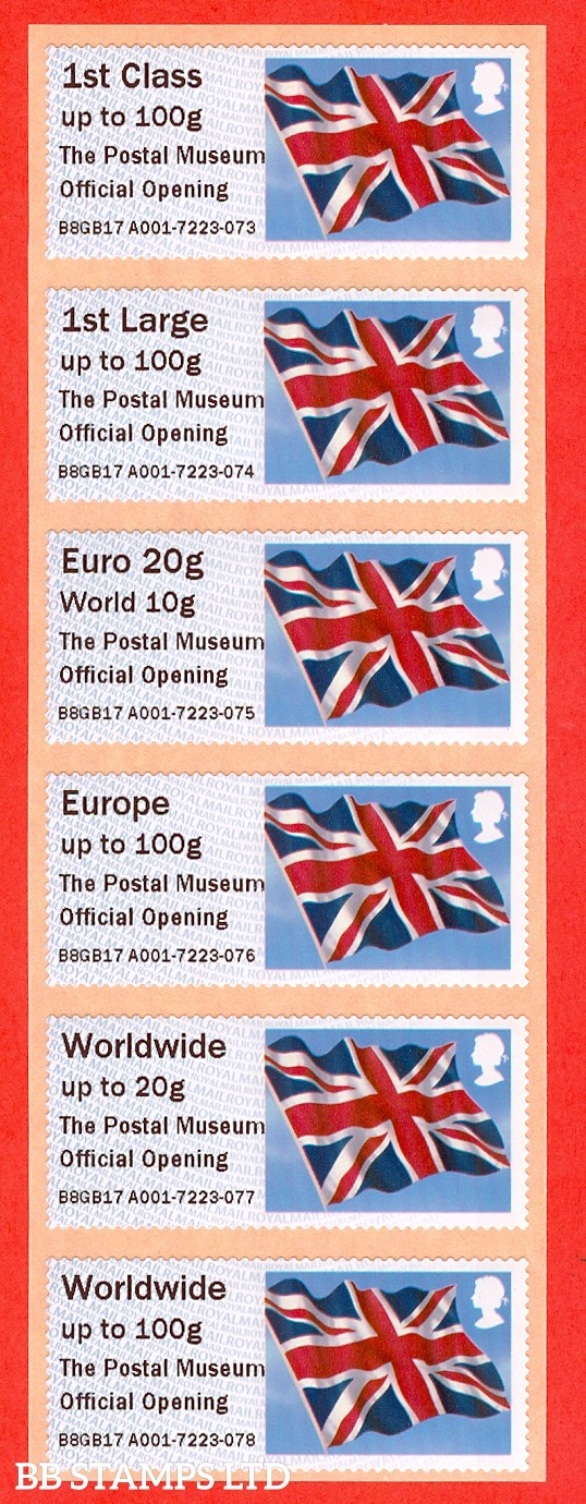 The Postal Museum Official Opening NO DATE: Type IIIA 1st - W/Wide 100g (set of 6)