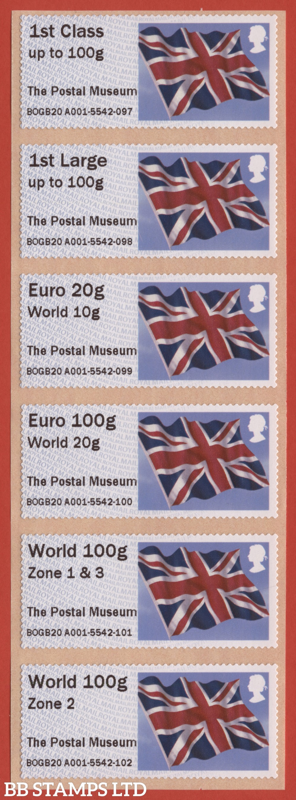 Union Flag: The Postal Museum, set of 6 (TIIIA) with new overseas stamps: 1st/1stL/Euro 20g World 10g, and 3 new values: Euro 100g World 20g, World 100g Zone 1 & 3 [with &; doesn't exist with hyphen] and World Zone 2: NO YEAR CODE (BK30, P6)