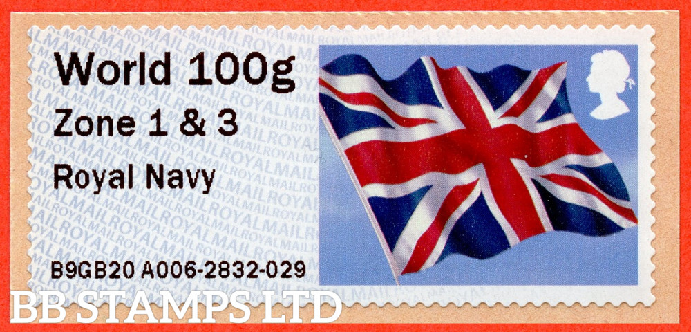 Union Flag: Royal Navy, from 18/09/20: World 100g Zone 1 & 3 [with '&' instead of hyphen] (TIIIA), single only: NO YEAR CODE (BK30 P19)