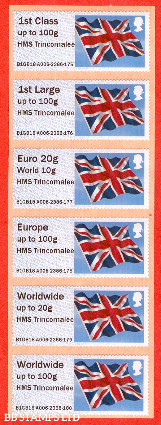 Union Flag HMS Trincomalee: NO DATE Type IIIA 1st- W/Wide 100g (set of 6) Issued 2018