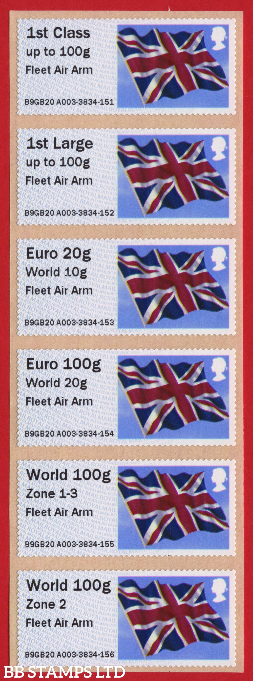 Union Flag Fleet Air Arm, with new overseas tariff stamps as issued on 01 September 2020. Set of 6, TIIIA: 1st, 1stL, Euro 20g World 10g – and new tariff Euro 100g World 20g/World 100g Zone 1-3/World Zone 2 stamps: NO YEAR CODE (BK30 P2)