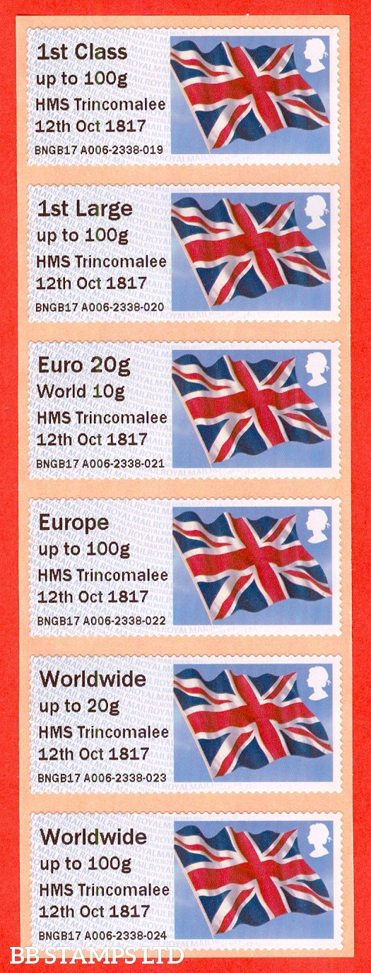 Union Flag HMS Trincomalee 12th Oct 1817: NO DATE Type IIIA 1st - W/Wide 100g (set of 6) Issued 2018
