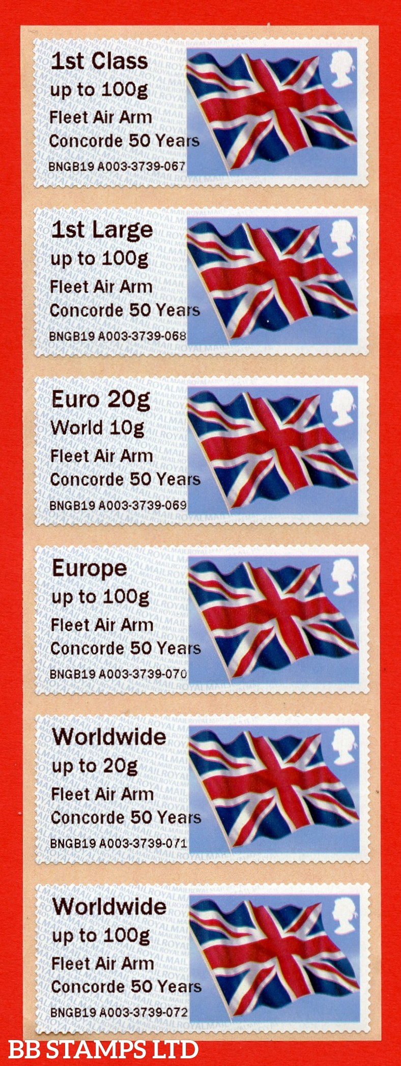 Union Flag Fleet Air Arm Concorde 50 Years: Type IIIA NO YEAR CODE 1st - W/Wide 100g (set of 6) (BK29,P1)