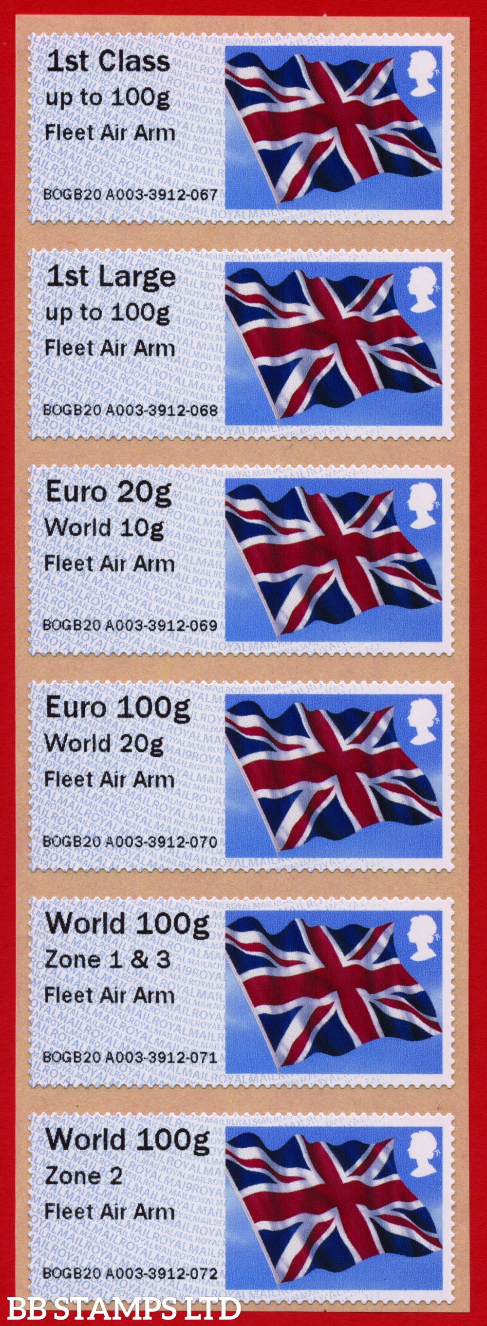 Union Flag: Fleet Air Arm [digital print], set of 6 (TIIIA) with new o/seas stamps, revised 18/09/20: 1st/1stL/Euro 20g World 10g, and 3 new values: Euro 100g World 20g, World 100g Zone 1 & 3 [&, not a hyphen], and World Zone 2: MA19 year code (BK30 P14)