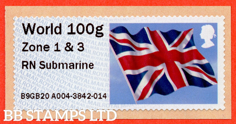 Union Flag: RN Submarine, from 18/09/20: World 100g Zone 1 & 3 [with '&' instead of hyphen] (TIIIA), single only: NO YEAR CODE (BK30 P20)