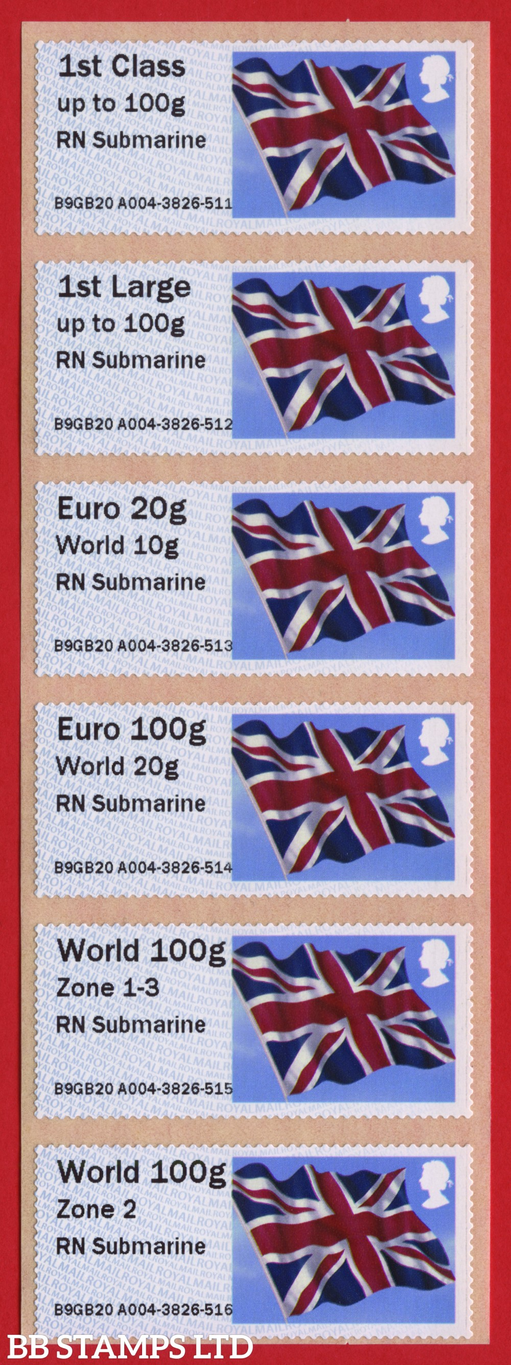 Union Flag RN Submarine, with new overseas tariff stamps as issued on 01 September 2020. Set of 6, TIIIA: 1st, 1stL, Euro 20g World 10g – and new tariff Euro 100g World 20g/World 100g Zone 1-3/World Zone 2 stamps: NO YEAR CODE (BK30 P1)