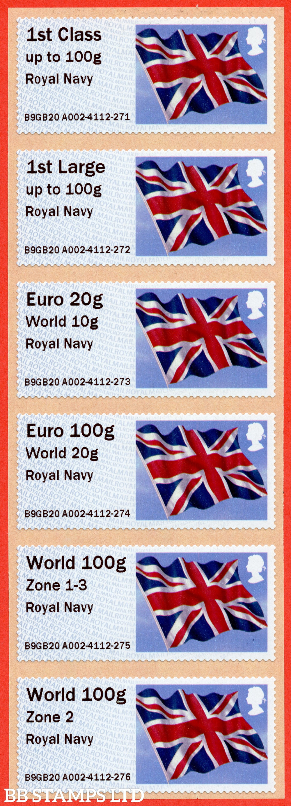 Union Flag: Royal Navy, set of 6 (TIIIA) with 01/09/20 new overseas stamps: 1st/1stL/Euro 20g World 10g, and 3 new values: Euro 100g World 20g, World 100g Zone 1-3 [with hyphen] and World Zone 2: NO YEAR CODE (BK30 P18)