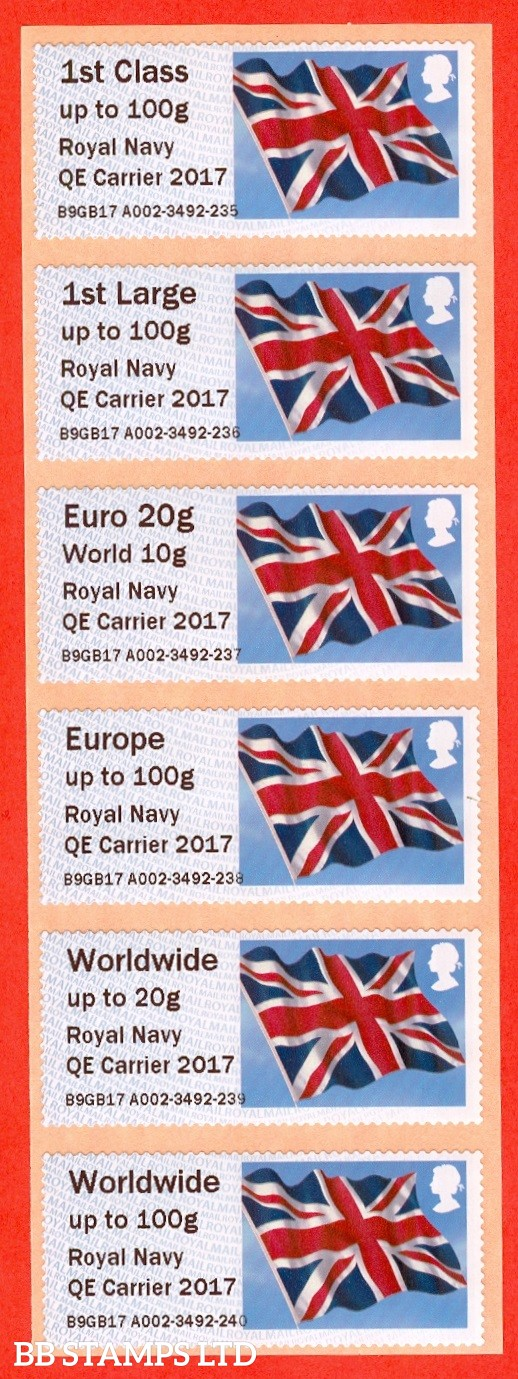 Union Flag Royal Navy QE Carrier 2017: NO DATE Type IIIA 1st - W/Wide 100g (set of 6)