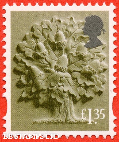 £1.35 Olive Green and silver Oak Tree: Litho Cartor (2019) (AVAILABLE From: 19/03/2019)