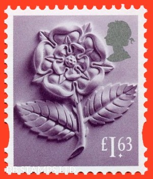 £1.63 Deep Reddish lilac and silver Tudor Rose: Litho Cartor (2020) 17.3.20