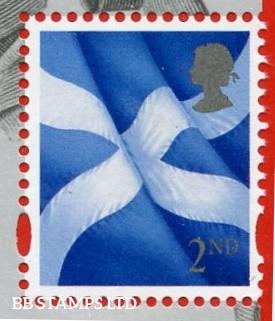 2nd Class Scottish Flag: Grey Head Small Value (deeper shade) - Cartor Litho 7.4.20 from Declaration Of Arbroath Minisheet.