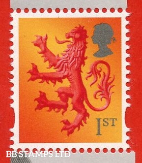 1st Class Rose-Red, Yellow, deep rose-red (deeper shade) : Grey Head Small Value - Cartor, Litho 7.4.20 from Declaration Of Arbroath Minisheet.