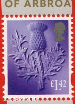 £1.42 Bright Lilac (deeper shade). Thistle: Litho Cartor (2020) 7.4.20 from Declaration Of Arbroath Minisheet.