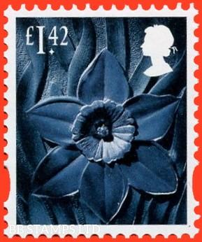 £1.42 greenish-blue, deep greenish blue and grey black Daffodil - Cartor Litho (2020) 17.3.20