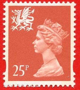 25p Red (2 Bands) Questa Blue Fluor (sheet stamp)