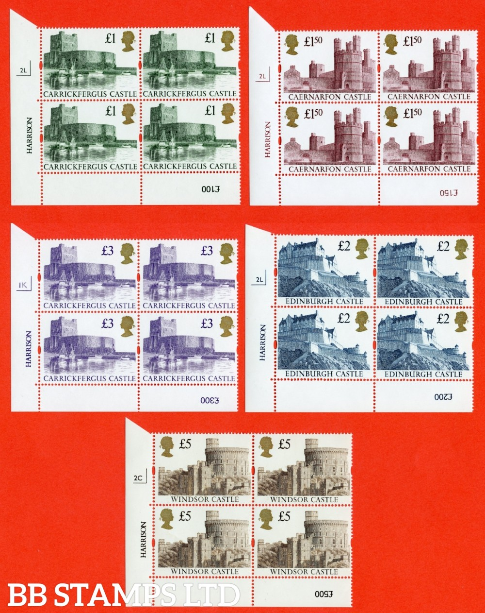 1992 Castles with Gold Heads Set of 5 in Cylinder Blocks of 4 ( Cylinder numbers may vary from scan )