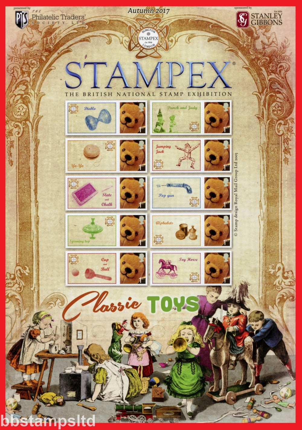 2017 Classic Toys Autumn Stampex In a sheet of 10 with Various labels.