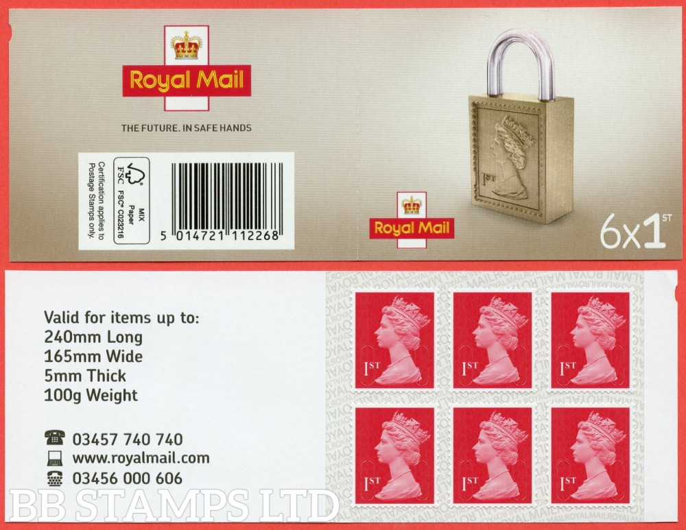 6 x 1st Class Bright Scarlet 'M19L' MSIL Padlock Design, printed backing paper with pairs of lines inverted. (Picture for general reference only; our choice of Ls or sL supplied where both exist.)
