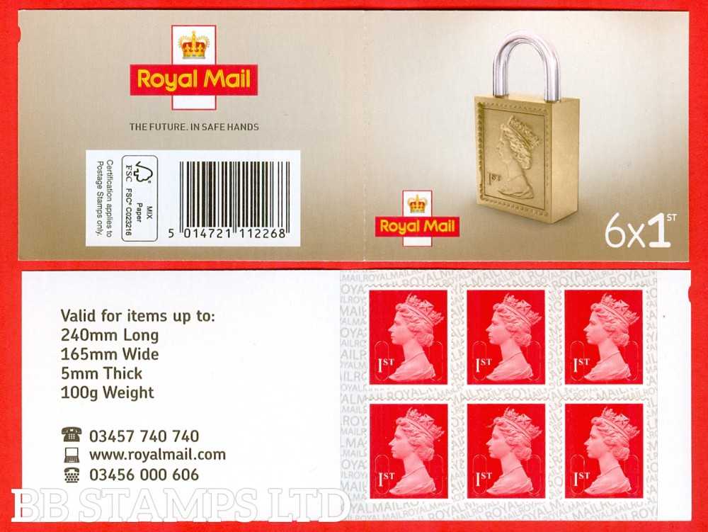 6 x 1st Class Bright Scarlet 'M18L' MSIL Padlock Design, printed backing paper with ALL lines upright.