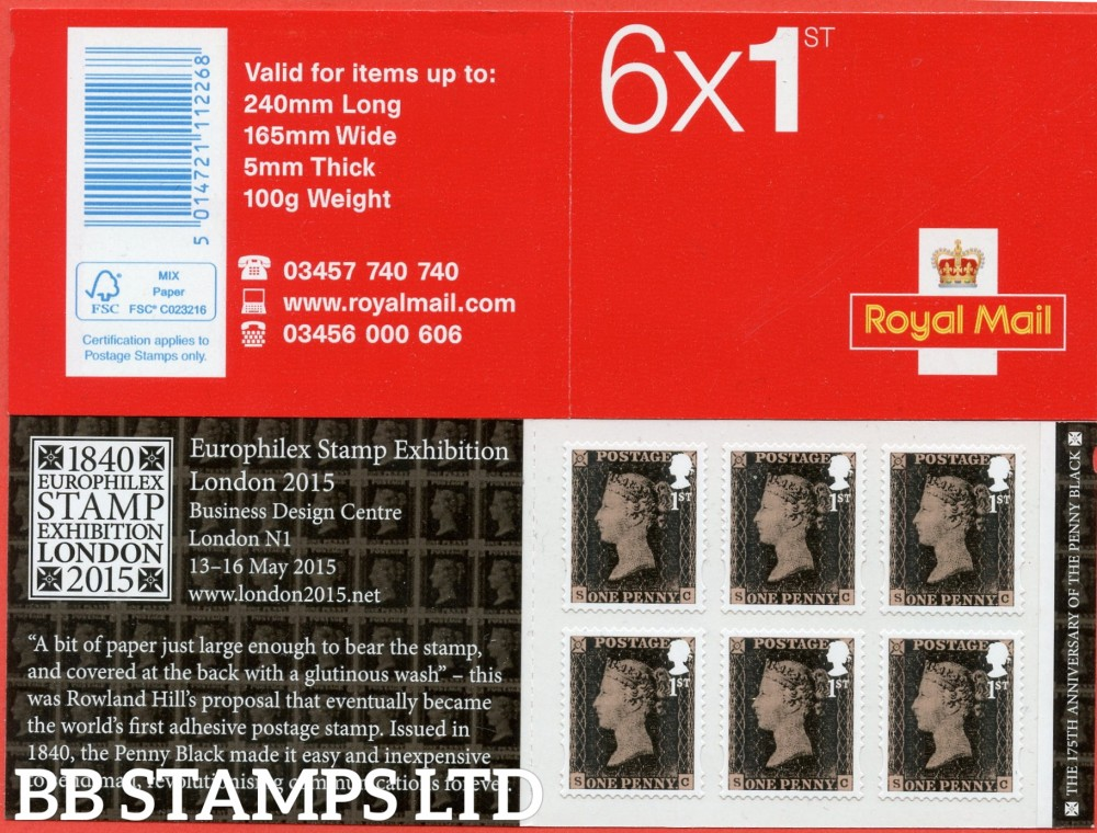 2015 6 x 1st Penny Black ( Contains 6 x SG.3709 )