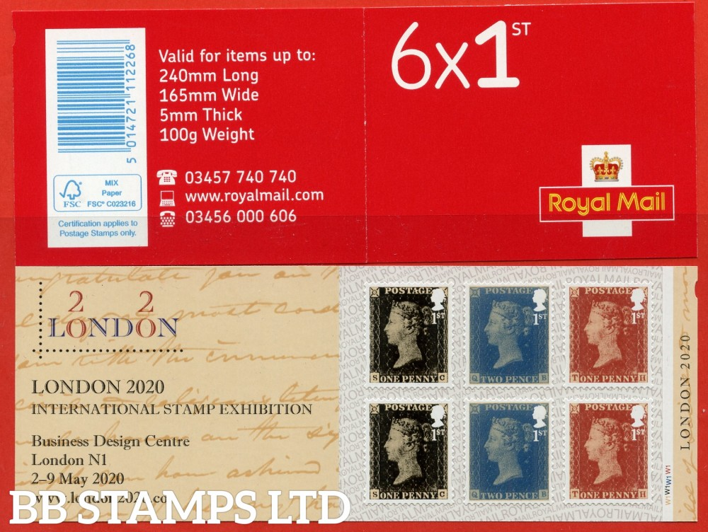 2020 6 x 1st Self Adhesive (This Retail Stamp Book of 6 x 1st Class stamps includes 2 x Penny Black, 2 x Twopenny Blue and 2 x Penny Red stamps) -London 2020