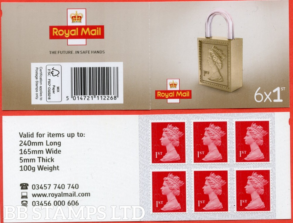 6 x 1st Class Bright Scarlet 'M20L' MSIL Padlock Design, printed backing paper with pairs of lines inverted. (Picture for general reference only; our choice of Ls or sL supplied where both exist.)
