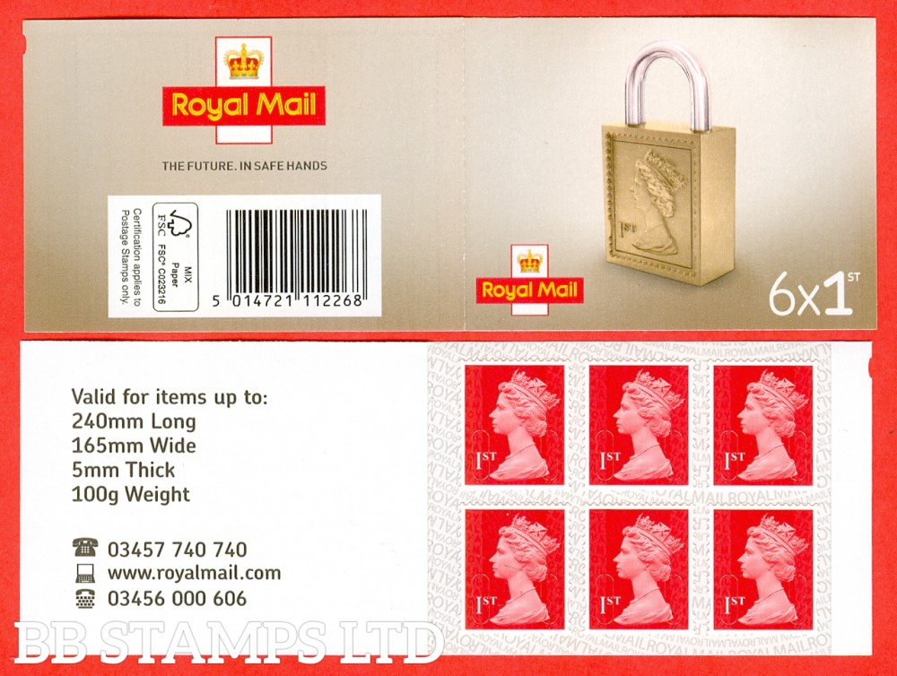 6 x 1st Class Bright Scarlet 'M17L' Royal Mail Inverted Backing