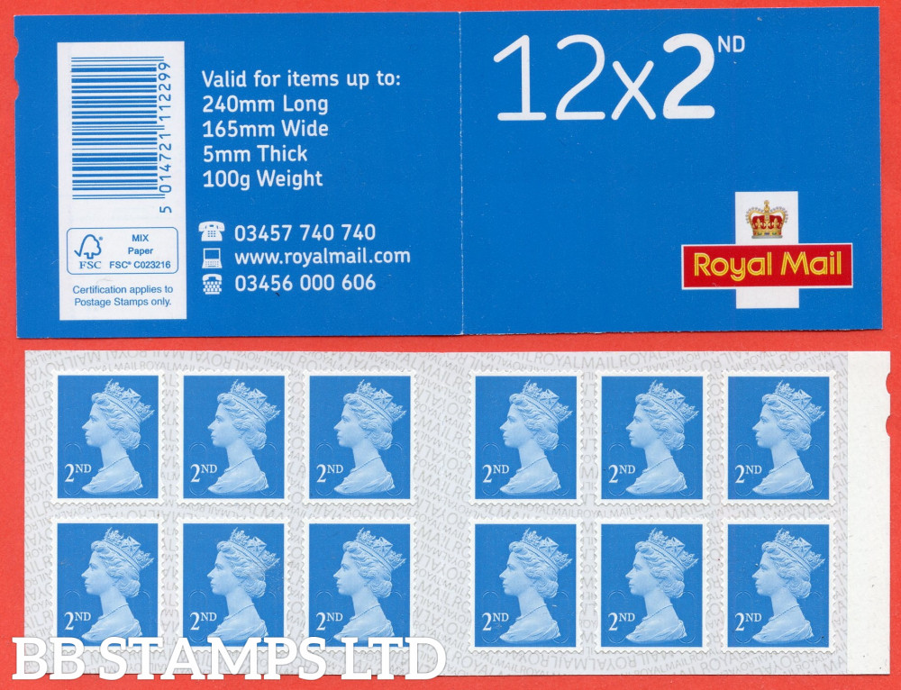 12 x 2nd Class 'M21L' MTIL (U3013 '21'), printed backing paper with pairs of lines inverted. (Picture for general reference only; our choice of Ls or sL supplied where both exist.) (1 Booklet only)