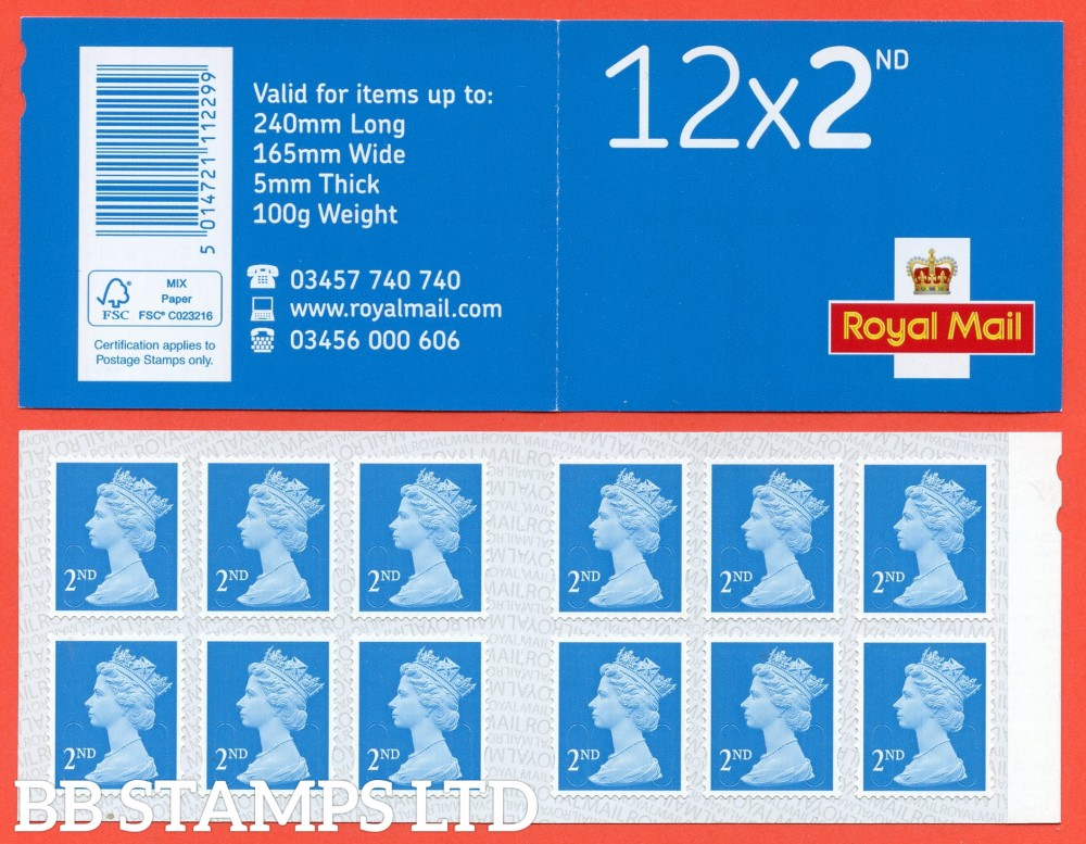 12 x 2nd Class 'M20L' MTIL (U3013 '20'), printed backing paper with pairs of lines inverted. (Picture for general reference only; our choice of Ls or sL supplied where both exist.) (1 Booklet only)