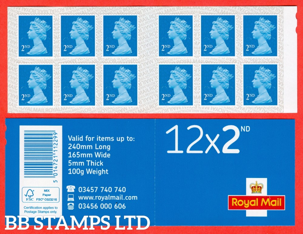 12 x 2nd Class (U2963) '16' With Reversed Royal Mail Backing (1 booklet only)