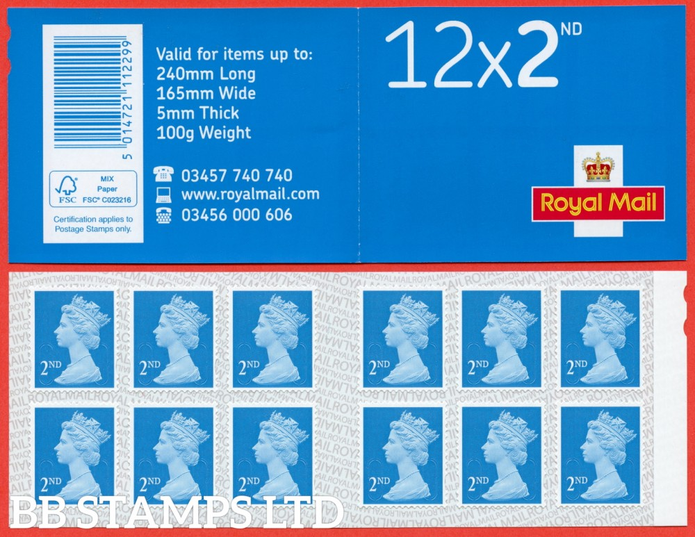 12 x 2nd Class 'M19L' MTIL (U3013), printed backing paper with pairs of lines inverted. (Picture for general reference only; our choice of Ls or sL supplied where both exist.) (1 Booklet only)